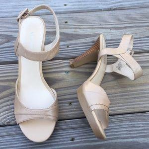 Nine West Genuine Leather Ankle Strap Heels